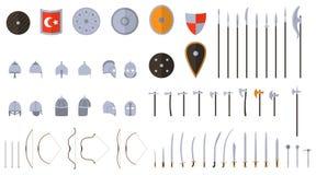 Middeleeuwse geplaatste wapens en pantsers Middeleeuws strijdersmateriaal royalty-vrije illustratie