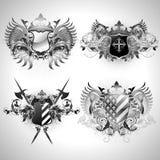 Middeleeuwse heraldische schilden Stock Afbeelding