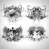 Middeleeuwse heraldische schilden Royalty-vrije Stock Afbeelding