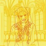 Middeleeuwse het Glimlachen Prinses Stock Illustratie