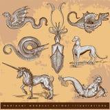 Middeleeuwse houtdruk dierlijke illustraties - set1 Stock Foto