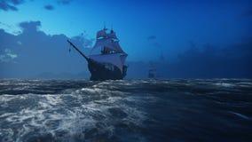 Middeleeuwse Houten boten op het overzees in de mist Piraten die onderaan het overzees op een schip varen Van een lus voorzien re royalty-vrije illustratie