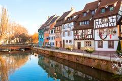 Middeleeuwse huizen in Colmar, Frankrijk Royalty-vrije Stock Foto's