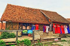 Middeleeuwse huizen die de Citadel Transsylvanië Roemenië kleden van vertoningsrasnov Stock Afbeeldingen