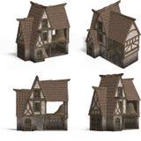 Middeleeuwse Huizen - Schuur Stock Foto