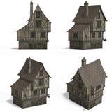Middeleeuwse Huizen - Staaf Stock Afbeeldingen