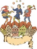Middeleeuwse juggler Egravedstijl Stock Fotografie