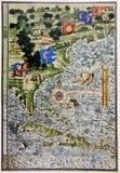 Middeleeuwse kaart van Noord-Amerika en Florida Stock Foto