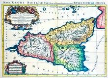 Middeleeuwse kaart van Sicilië Royalty-vrije Stock Afbeelding