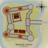 Middeleeuwse Kasteelkaart Stock Afbeeldingen