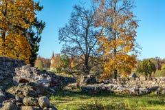 Middeleeuwse kasteelruïnes met Lutheran kerk in Archeologisch het Museumpark van Araisi, Letland royalty-vrije stock afbeelding