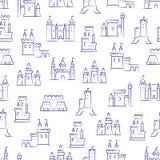 Middeleeuwse kastelen, vesting, bastionen naadloos patroon royalty-vrije illustratie