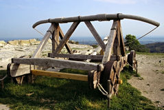 Middeleeuwse katapult Stock Foto's