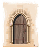Middeleeuwse kerkdeur en steenboog - illustratie Stock Afbeelding