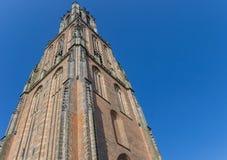 Middeleeuwse kerktoren Onze Lieve Vrouwetoren in Amersfoort stock afbeelding