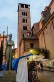 Middeleeuwse Kerstmismarkt in Vic, in de provincie van Barcelona, Spanje royalty-vrije stock afbeelding