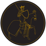 Middeleeuwse Koning Knight, Mens op Horseback met Kroon en Zwaard Oude Zegel in Cirkel Royalty-vrije Stock Fotografie