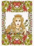 Middeleeuwse Koningin op bloemenkader royalty-vrije illustratie