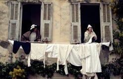 Middeleeuwse kostuumpartij Stock Foto's
