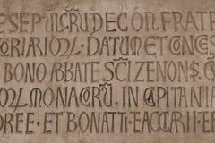 Middeleeuwse Latijnse katholieke inschrijving Stock Afbeeldingen