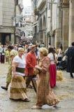 Middeleeuwse Markt in Galicië Spanje stock afbeelding