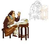 Middeleeuwse mens met een pen en rollen Royalty-vrije Stock Afbeeldingen