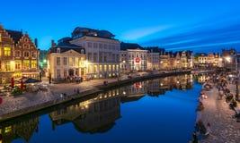 Middeleeuwse Mijnheer bij zonsondergang, België stock fotografie