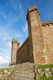 Middeleeuwse Montalcino-Vesting in Val D 'Orcia, Toscanië, Italië stock afbeelding