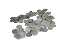 Middeleeuwse muntstukken die over wit worden geïsoleerdd royalty-vrije stock afbeelding