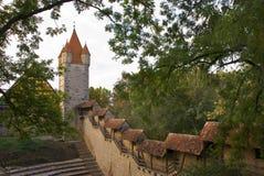 Middeleeuwse Muur en Toren Rothenburg Duitsland Royalty-vrije Stock Afbeeldingen