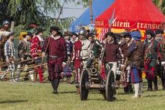Middeleeuwse opgevoerde slag - Rievocandum 2015 stock foto