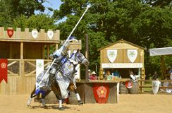 Middeleeuwse opgezette ridder in pantser Royalty-vrije Stock Foto