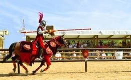 Middeleeuwse opgezette ridder in pantser Royalty-vrije Stock Fotografie