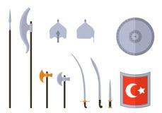 Middeleeuwse osman geplaatste wapens en pantsers Materiaal van de Osman het Turkse strijder vector illustratie