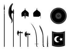 Middeleeuwse osman geplaatste wapens en pantsers Materiaal van de Osman het Turkse strijder stock illustratie