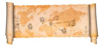 Middeleeuwse perkamentrol met oude kaart Stock Foto