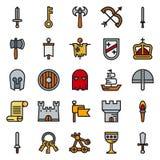 MIDDELEEUWSE pictogramreeks kleuren eenvoudige pictogrammen Stock Foto's
