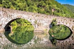 Middeleeuwse Ponte-della Maddalena over Serchio Royalty-vrije Stock Foto's