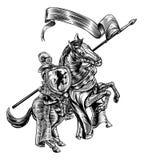 Middeleeuwse Ridder op Stijl van de Paard de Uitstekende Houtdruk vector illustratie