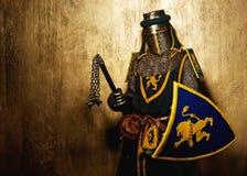 Middeleeuwse ridder in volledig pantser Stock Foto