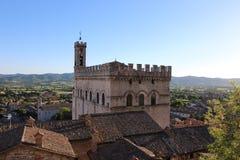Middeleeuwse Stad Gubbio in dei Consoli van Umbrië Palazzo Royalty-vrije Stock Afbeeldingen