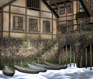 Middeleeuwse stad met boten stock illustratie