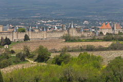 Middeleeuwse Stad van Carcassonne Frankrijk Stock Foto's