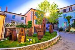 Middeleeuwse stad van de kleurrijke straat van Kastav Royalty-vrije Stock Fotografie