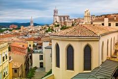 Middeleeuwse stad van Girona stock foto's