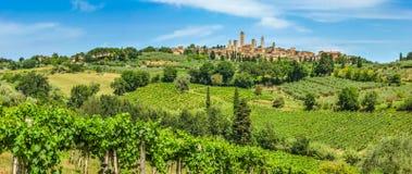 Middeleeuwse stad van San Gimignano, Toscanië, Italië Stock Afbeeldingen