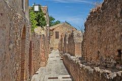 Middeleeuwse stadsmuren in Rocca San Giovanni, Chieti, Abruzzo, Ital Royalty-vrije Stock Afbeeldingen