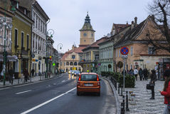 Middeleeuwse straat in Brasov, Roemenië Royalty-vrije Stock Afbeelding