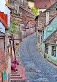 Middeleeuwse Straat in Sibiu royalty-vrije stock fotografie