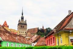 Middeleeuwse straatmening in Sighisoara, Roemenië royalty-vrije stock foto